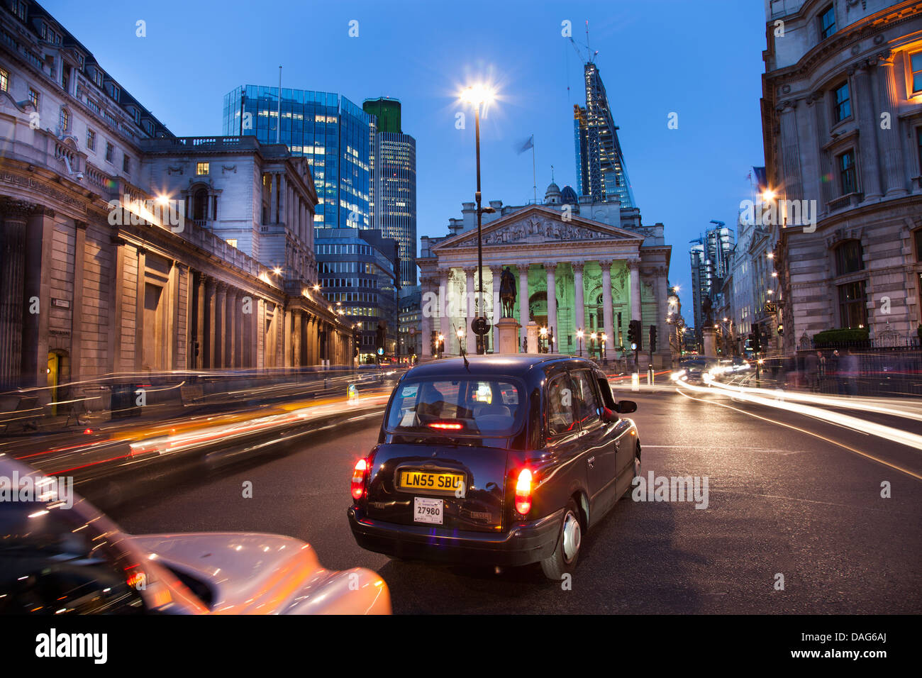 Black cap on Bank Junction,The Royal Exchange,The Bank of England ,The City of London,England - Stock Image