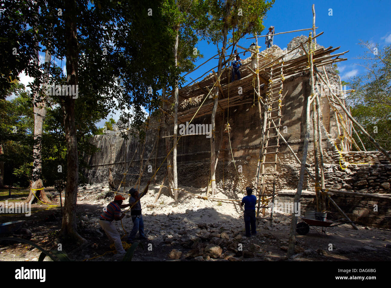 Mexico, Campeche State, Chicanna, archaeological mayan site, ruins, classic periods (years 300-800 A.D ) , restauration Stock Photo