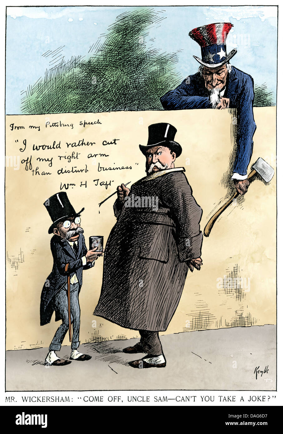 Cartoon about antitrust actions of Attorney General Wickersham and President Taft, 1911. Hand-colored woodcut - Stock Image