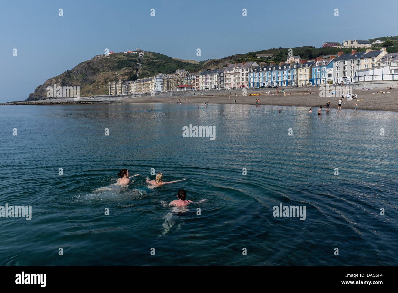 Aberystwyth Wales UK, Friday 12 July 2013  As temperatures climb into the mid 20's Celsius  (low 70's Fahrenheit), Stock Photo