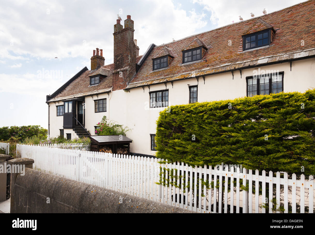 Old Customs House cottages at Mudeford Quay - Stock Image