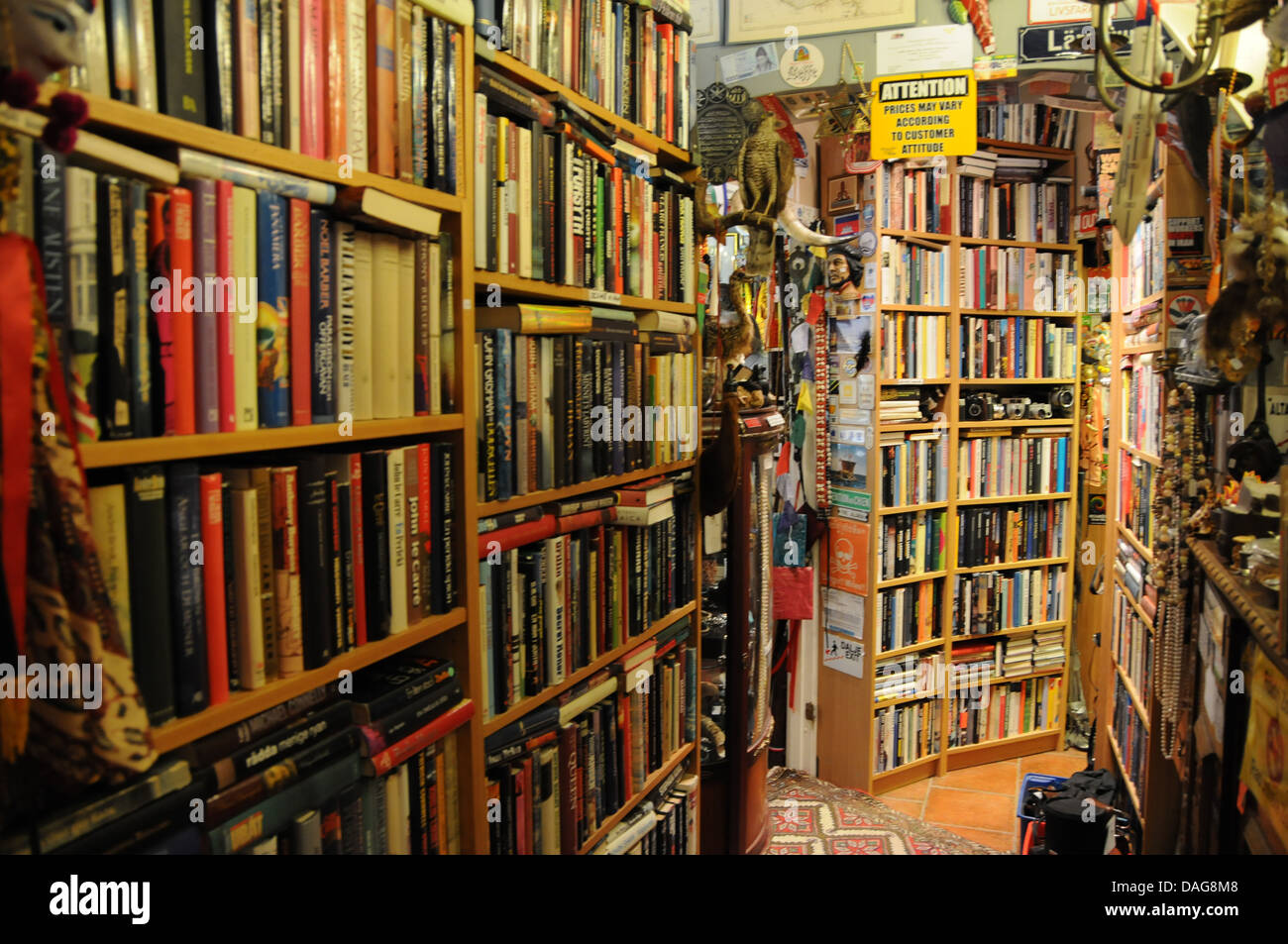 Shelves of old and used books at the World Report bookstore and memorabilia shop in Gothenburg, Sweden - Stock Image