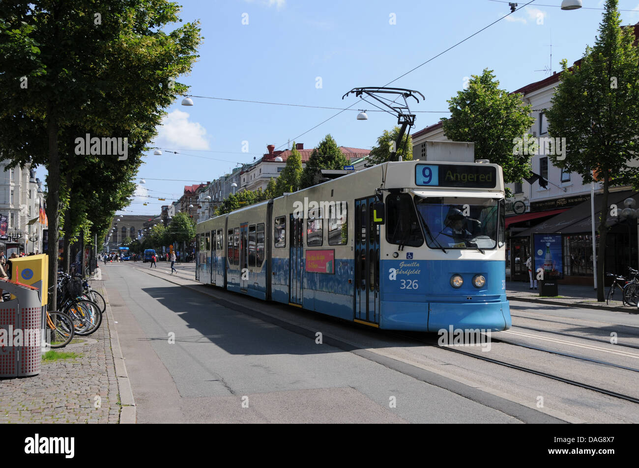 Street car or trolley coming down the Avenyen in Gothenburg on West Coast of Sweden - Stock Image