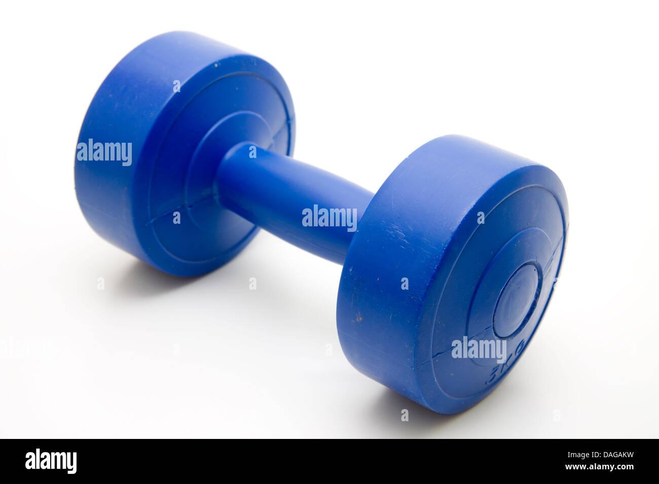 Blue dumbbell - Stock Image