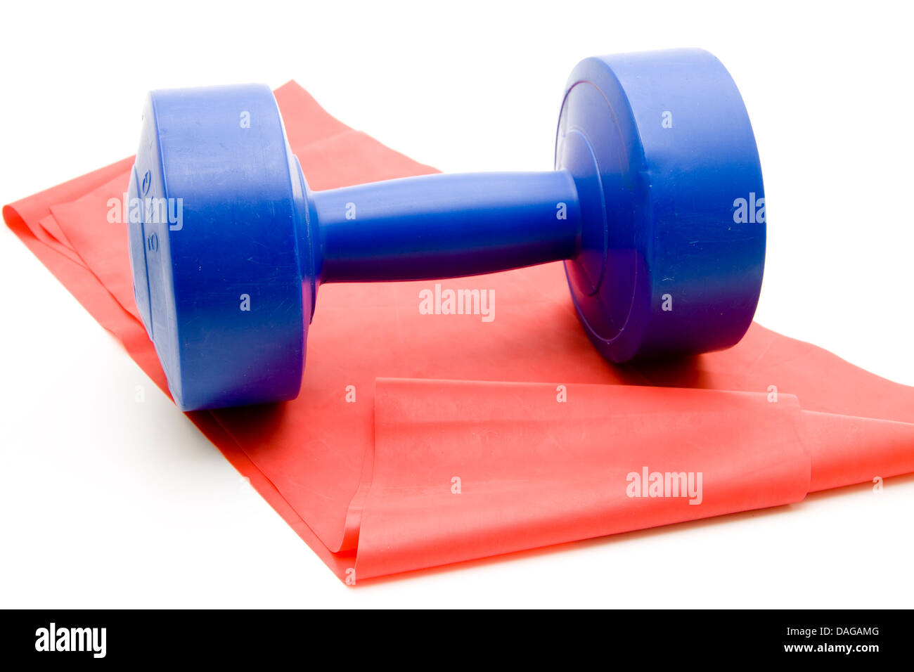 Blue dumbbell with gymnastics tape - Stock Image