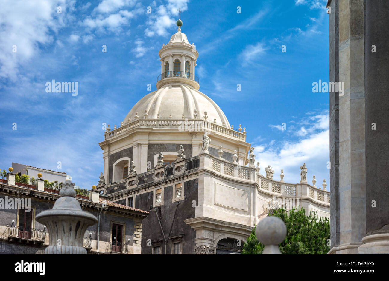 Italy, Sicily, Catania, the Santa Agata dome seen from Piazza Duomo - Stock Image