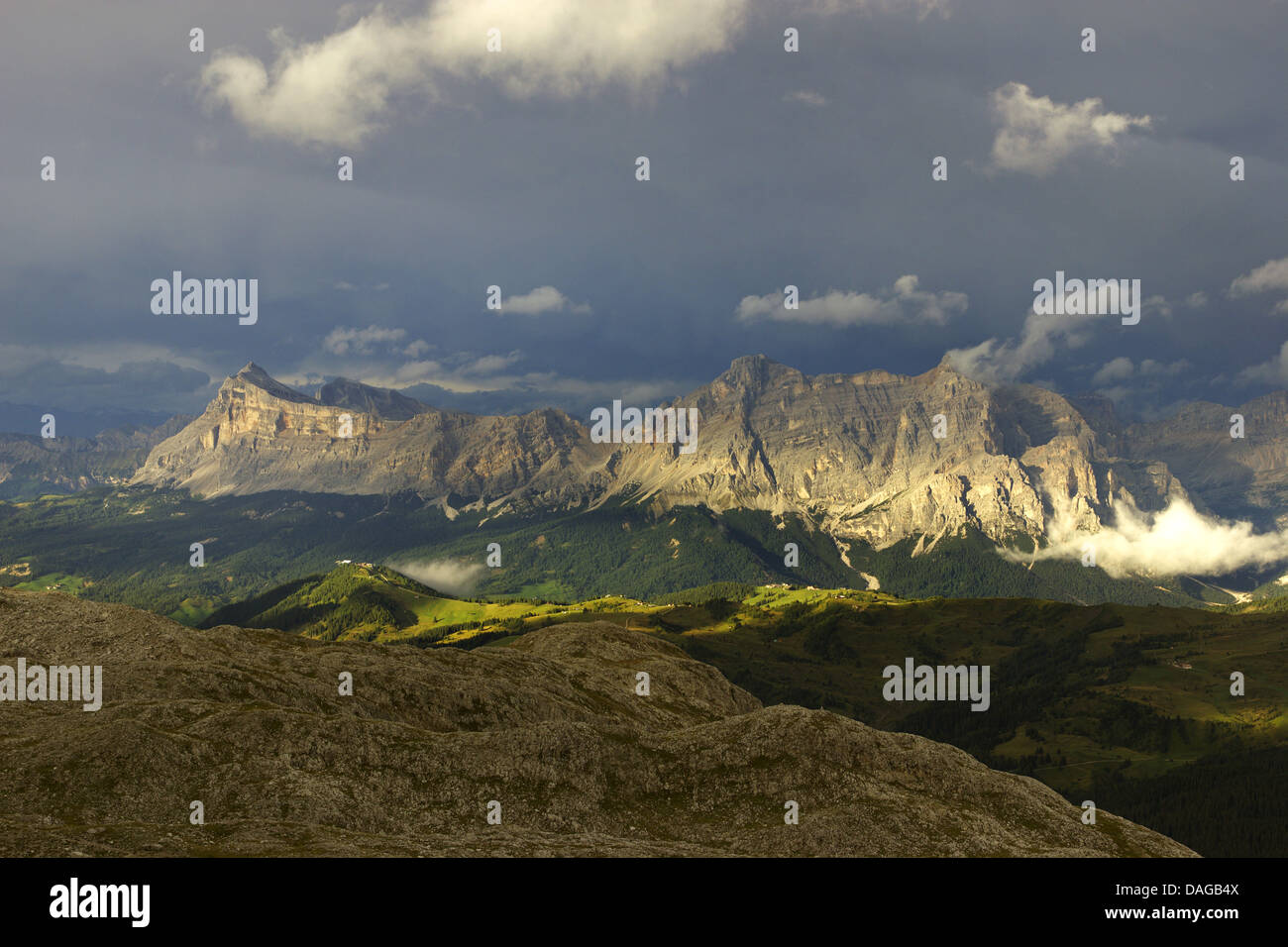 view from Sella group to Fanes group after thunderstorm in evening light, Italy, Dolomites Stock Photo