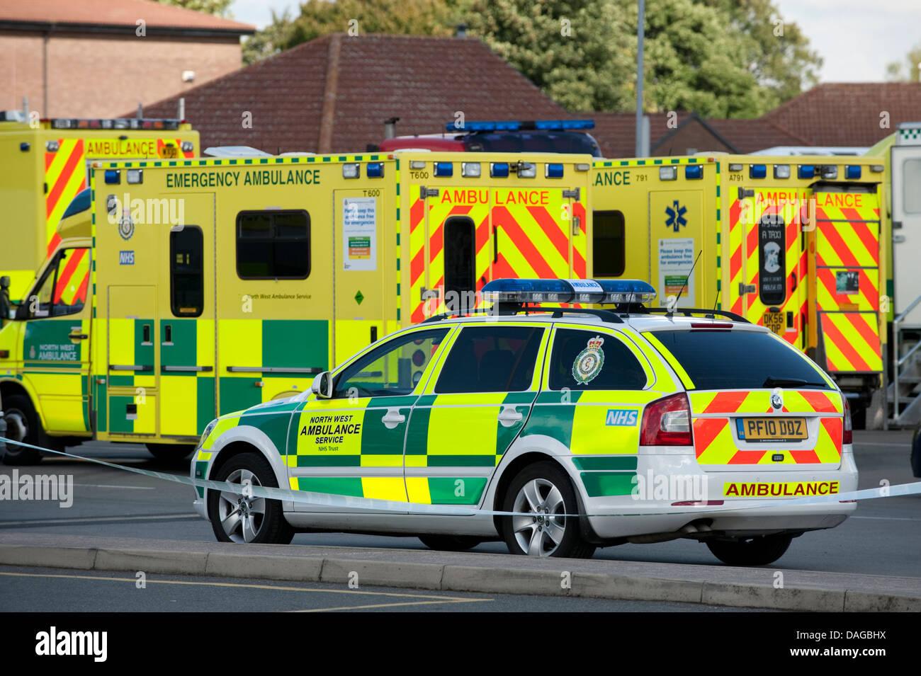 Lots of Paramedic Ambulances Car Major Incident - Stock Image