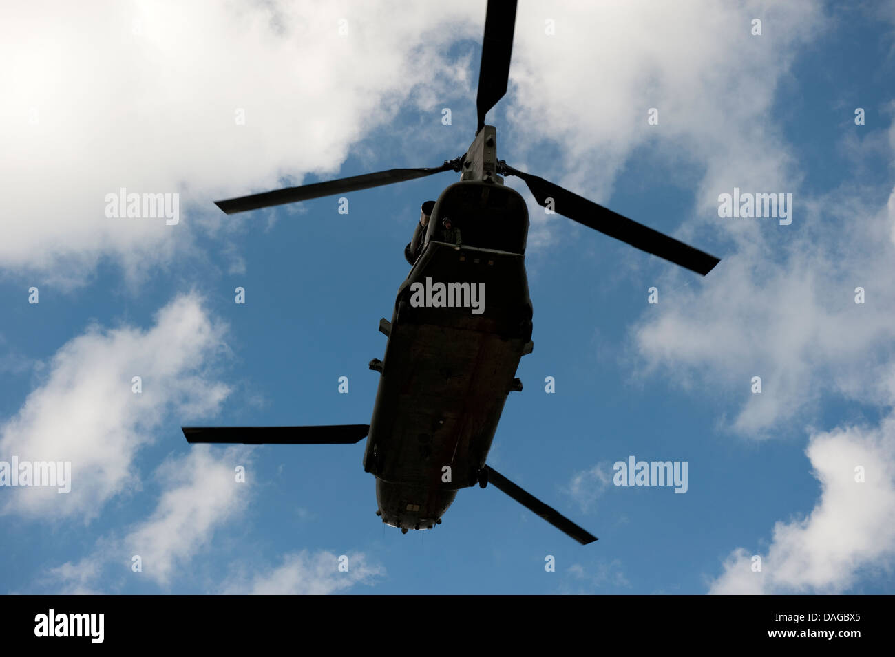 British Army Chinook Helicopter Twin Rotor - Stock Image