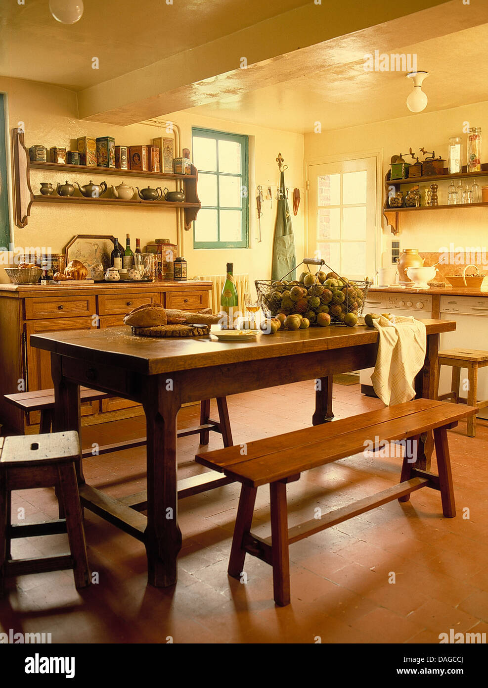 Pleasing Wooden Table And Benches In French Country Kitchen With Unemploymentrelief Wooden Chair Designs For Living Room Unemploymentrelieforg