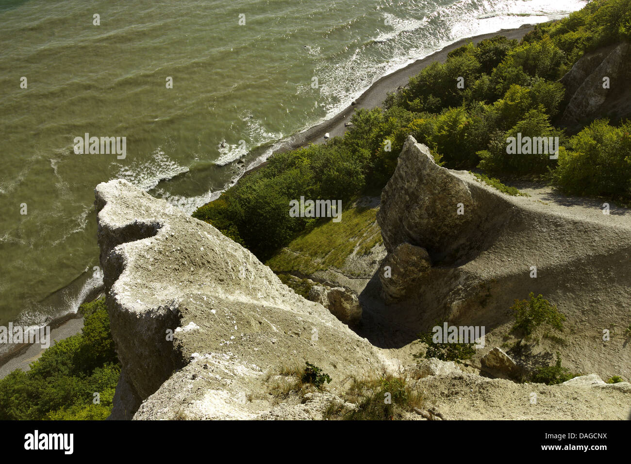 view from Victoria viewpoint to chalk cliffs, Germany, Mecklenburg-Western Pomerania, Ruegen, Jasmund National Park - Stock Image