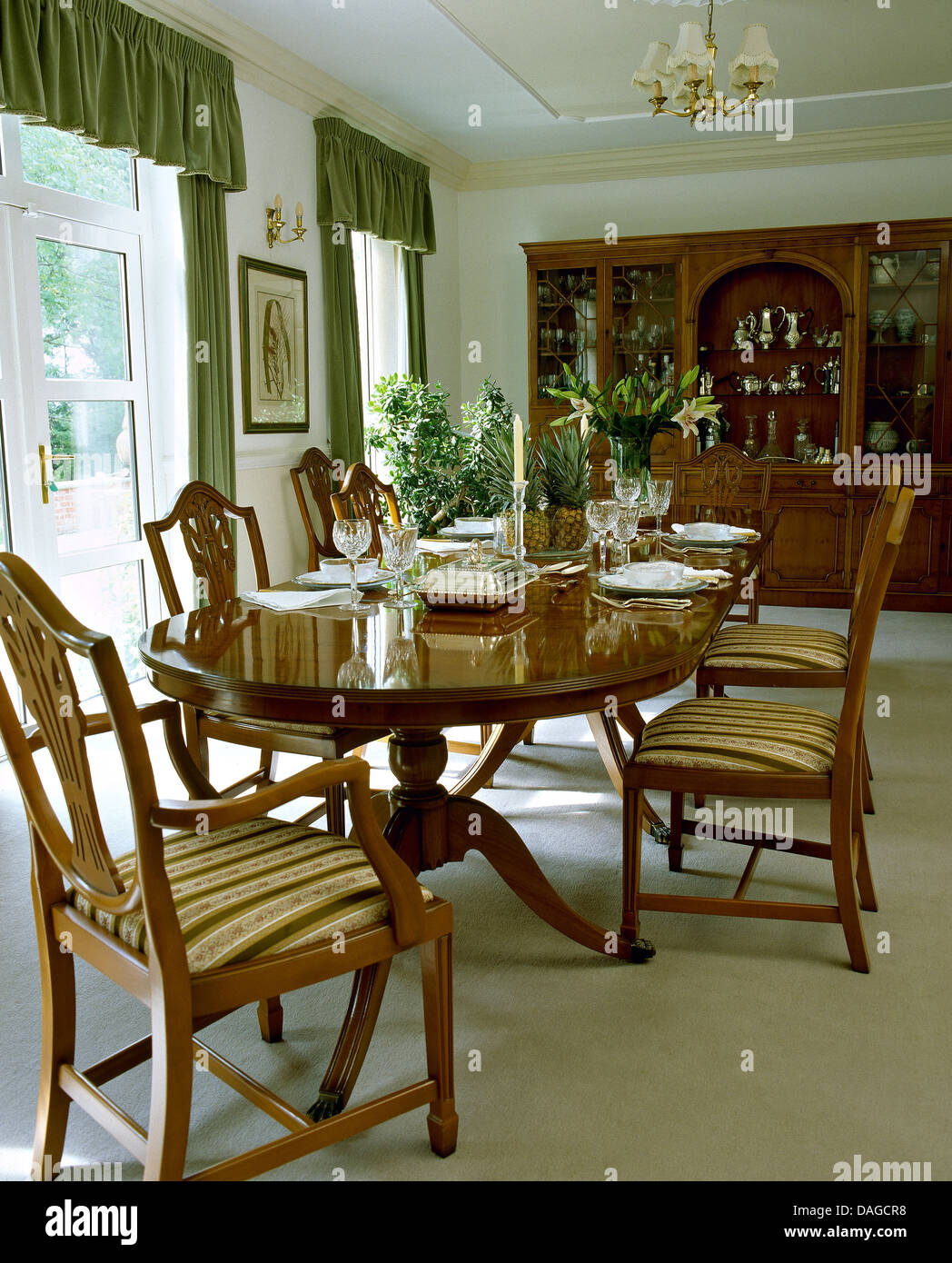 Cool Oval Mahogany Table And Upholstered Chippendale Style Chairs Theyellowbook Wood Chair Design Ideas Theyellowbookinfo