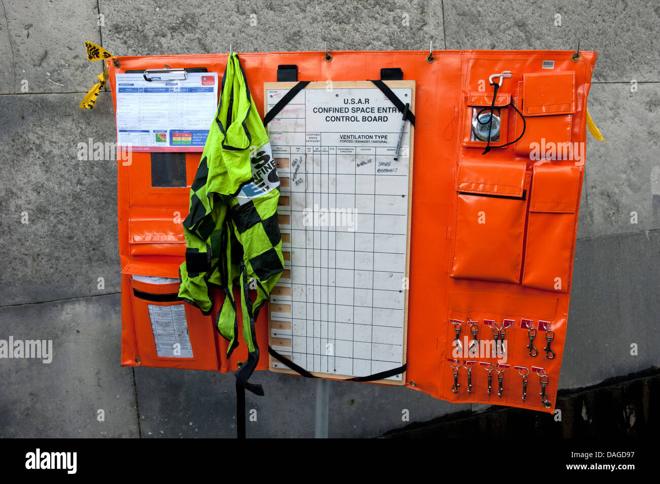 USAR Confined Space Entry Control Board BA - Stock Image