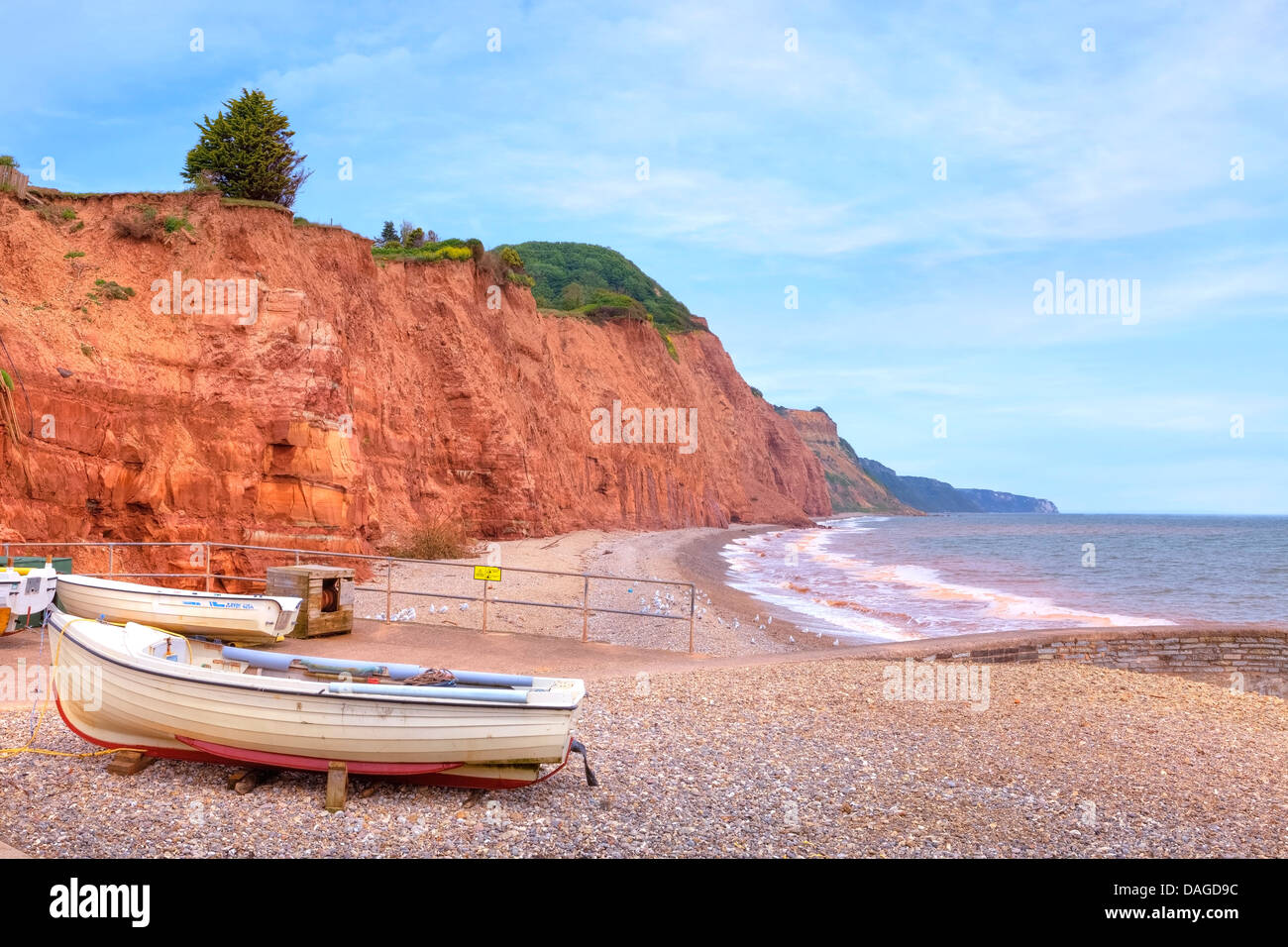 red-coloured cliffs at Sidmouth, Devon, United Kingdom - Stock Image