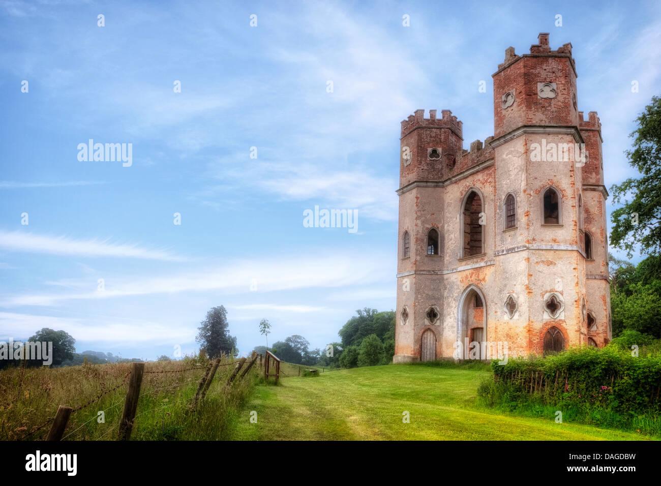 Powderham Castle, Belvedere Tower, Devon, United Kingdom - Stock Image