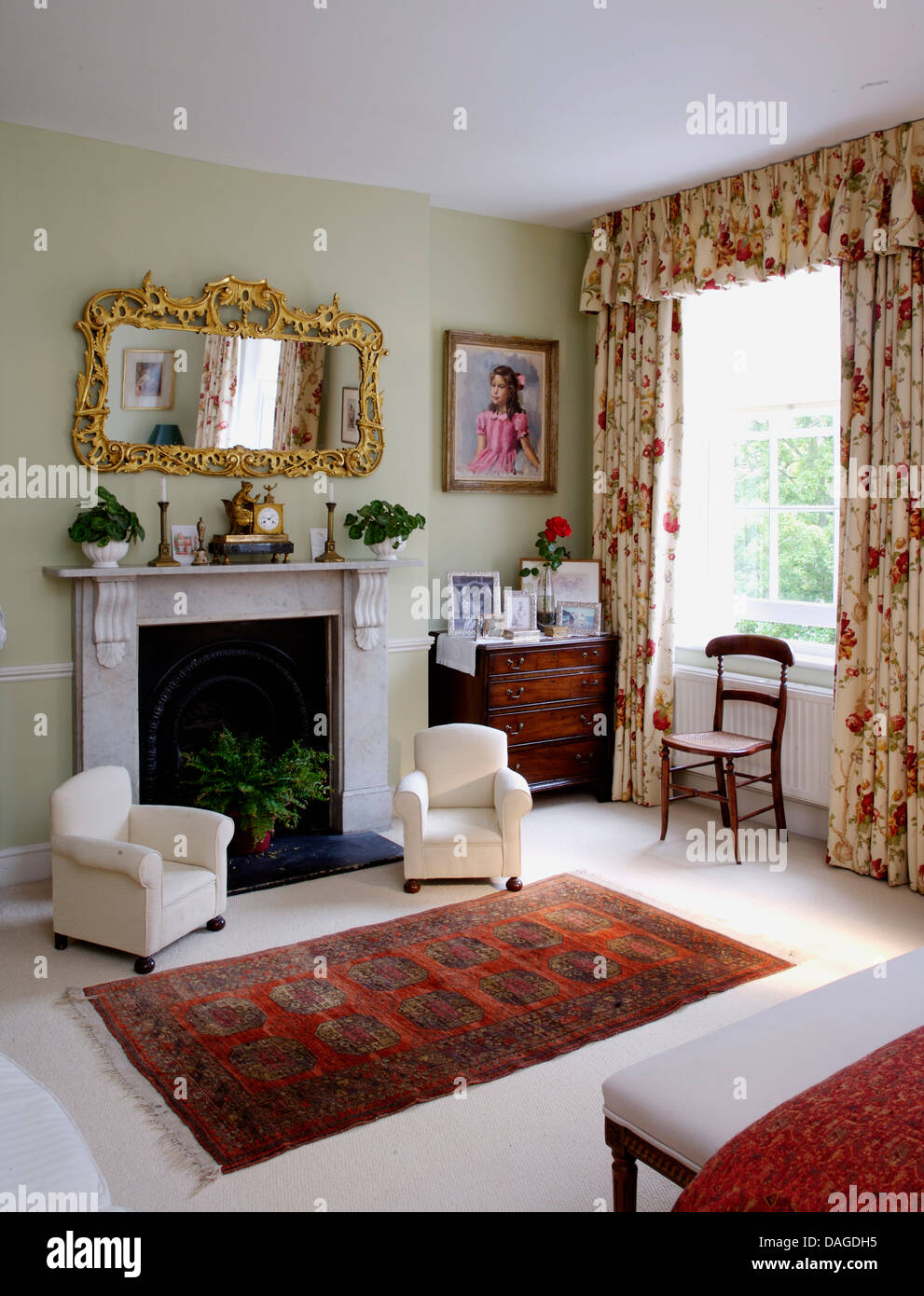 Pair Of Children S Armchairs In Front Of Fireplace In