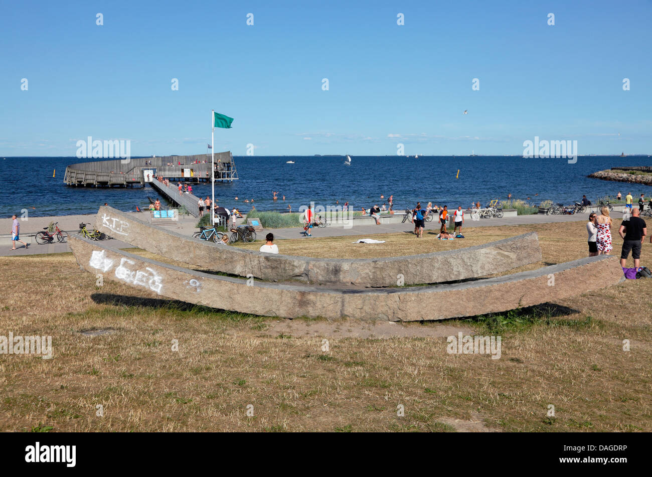 Kastrup Søbad, Kastrup Public Baths on Amager connected to the rest of the Kastrup bathing resort, Copenhagen, - Stock Image