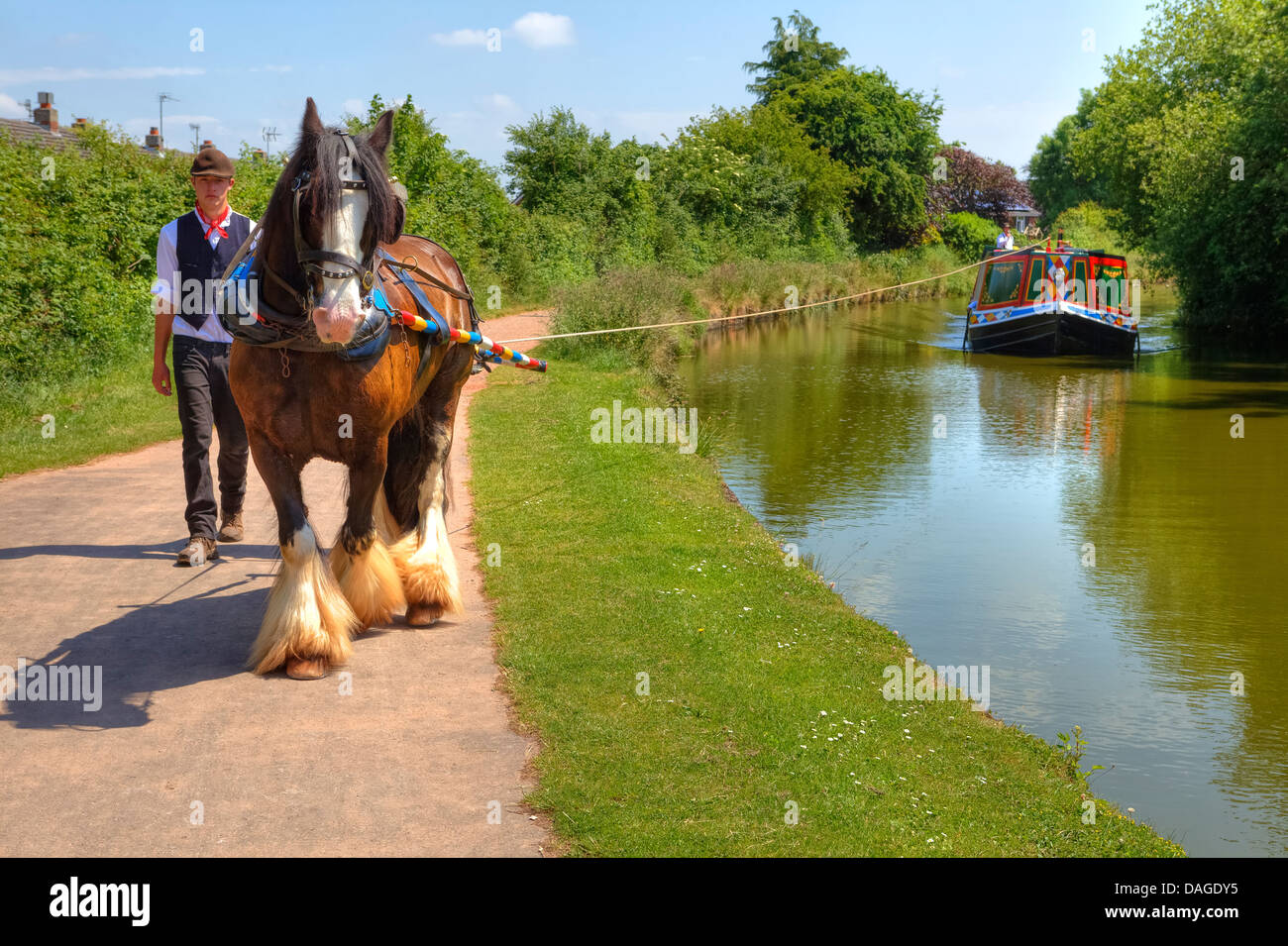 Horse drawn barge on the Great Western Canal, Tiverton, Devon, England, United Kingdom - Stock Image