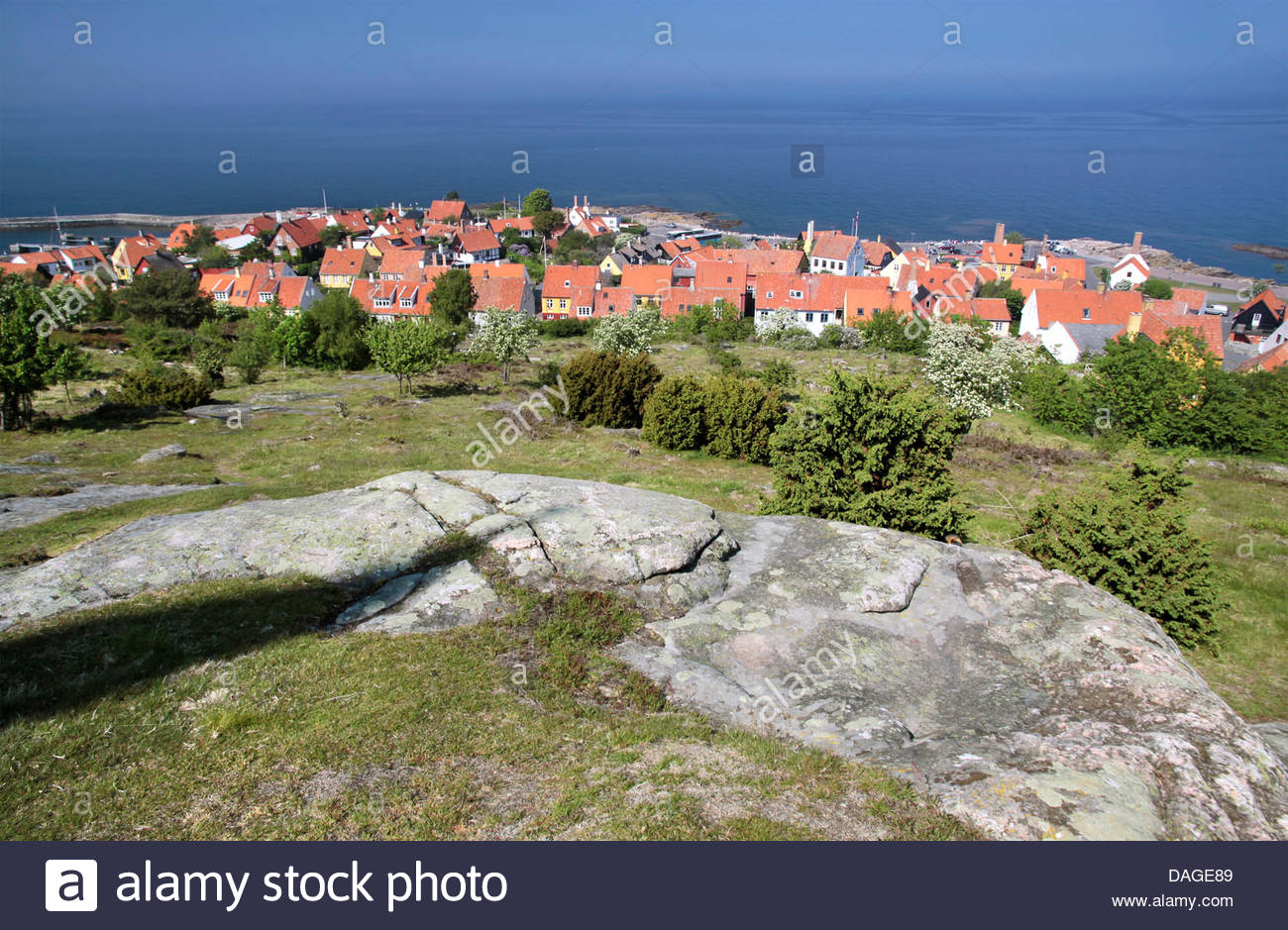 View of Gudhjem of elevated viewpoint, Bornholm, Denmark - Stock Image