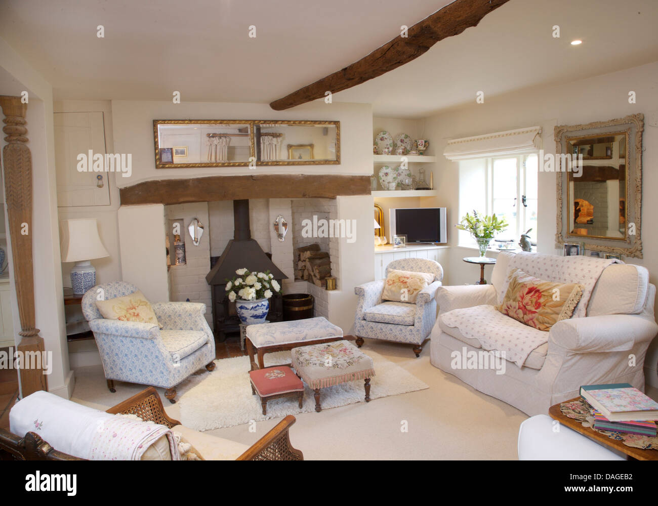 Traditional cottage furniture armchair stock photos - White wooden living room furniture ...