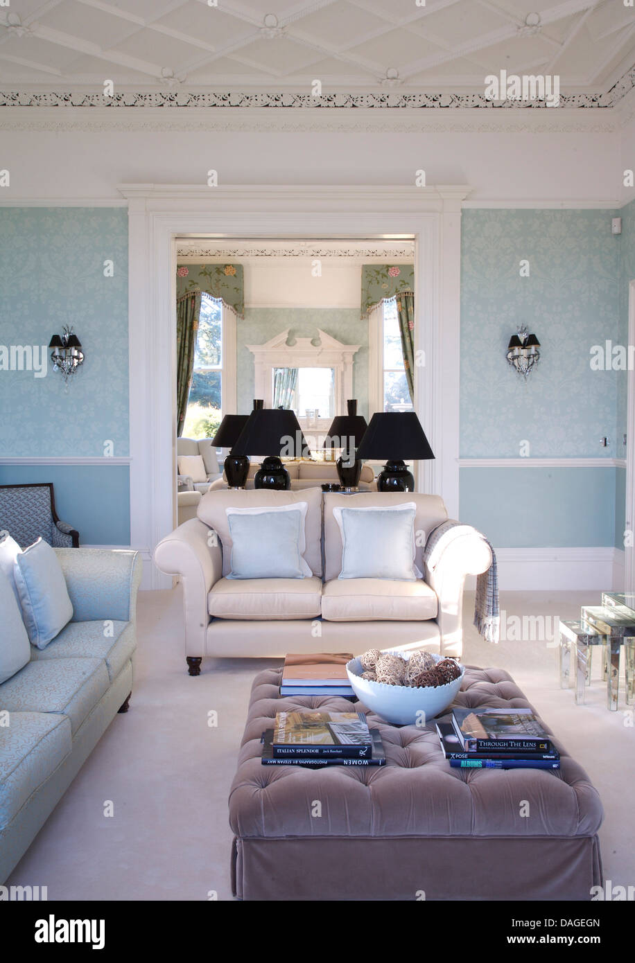 Outstanding Gray Velvet Ottoman And White Sofas And Carpet In Pale Blue Machost Co Dining Chair Design Ideas Machostcouk