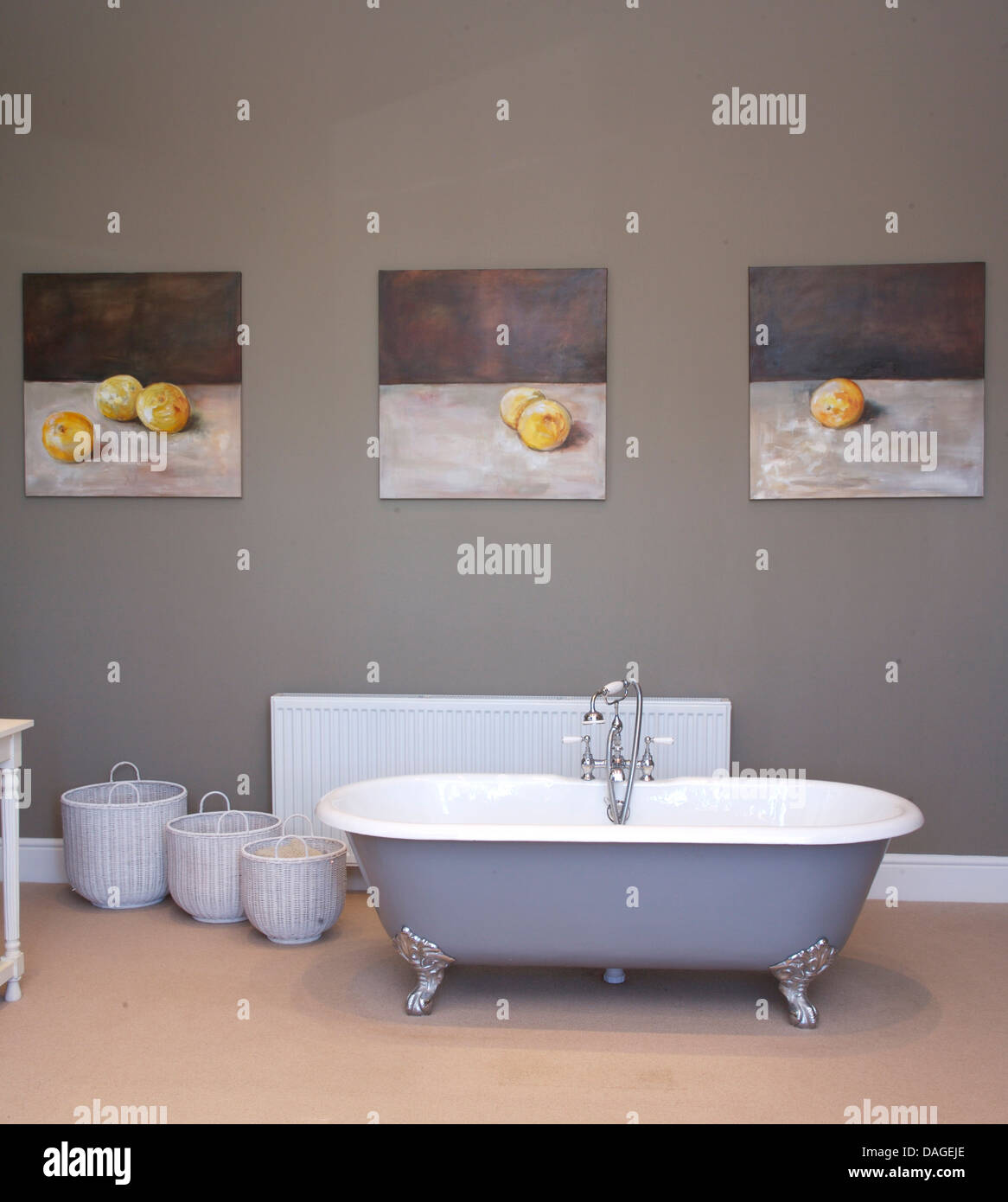 Grey Country Bathroom With Rolltop Bath: Freestanding Roll Top Bathtub In Center Of Gray
