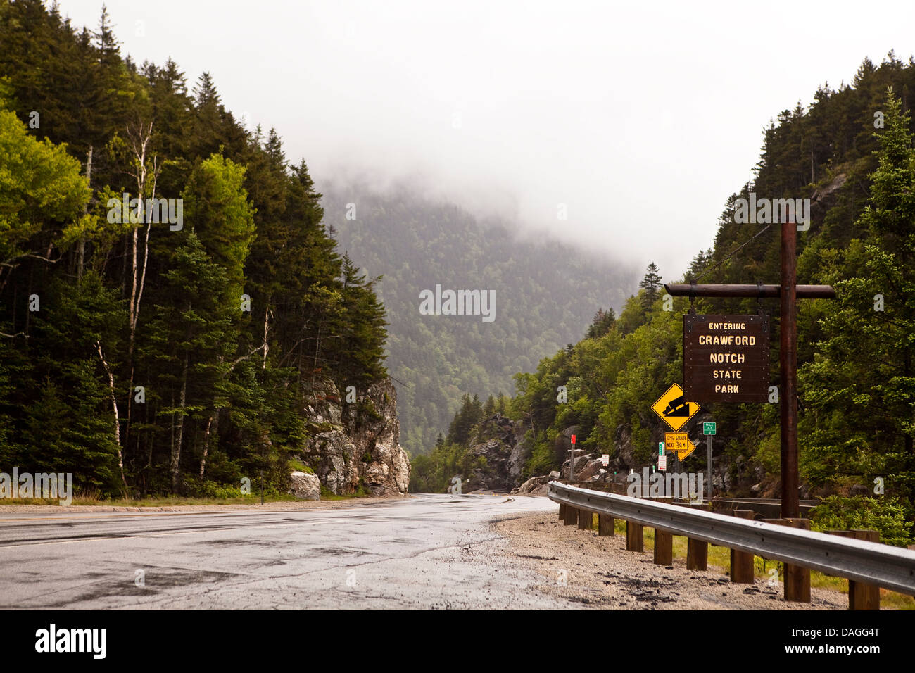 The Crawford Notch State Park is seen in New Hampshire Stock Photo
