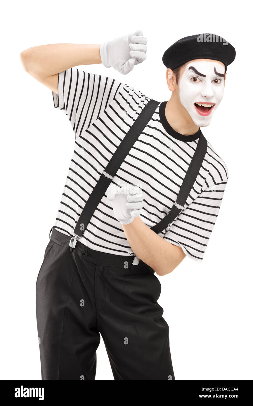 Male mime artist gesturing - Stock Image