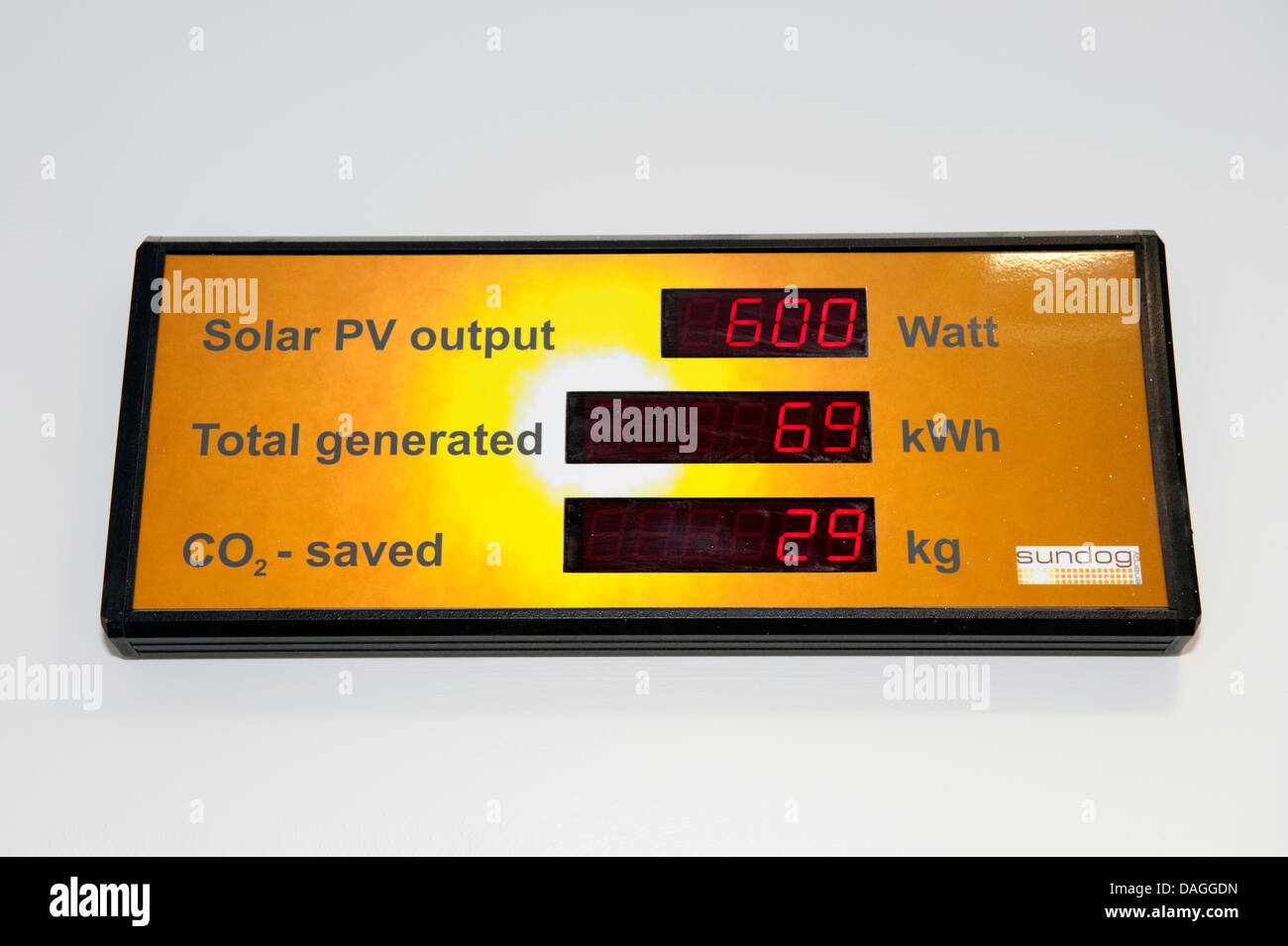 Industrial Factory Solar Panel output display CO2 - Stock Image
