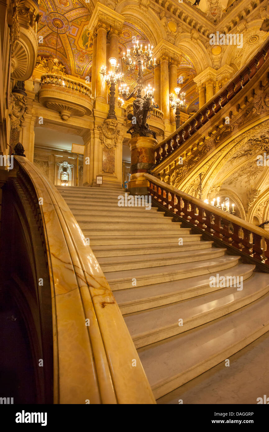 Entry stairs to grand foyer of Garnier Opera House, Paris France - Stock Image
