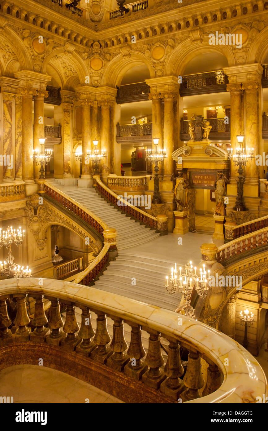 Grand staircase entry to Palais Garnier - Opera House, Paris France - Stock Image