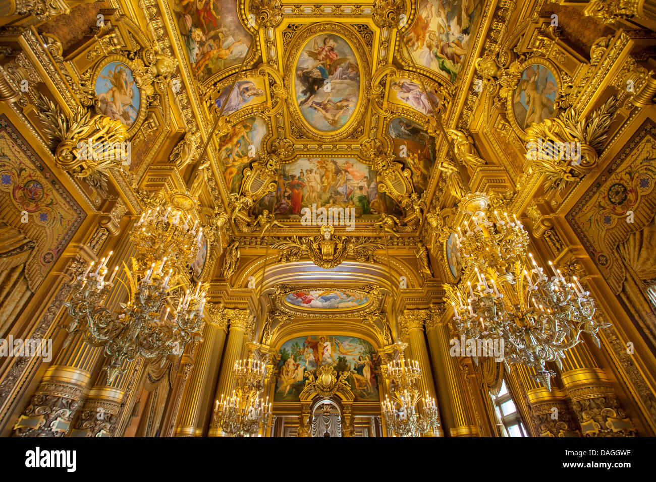 Ceiling detail of the Grand Foyer, Palais Garnier - Opera House, Paris France - Stock Image