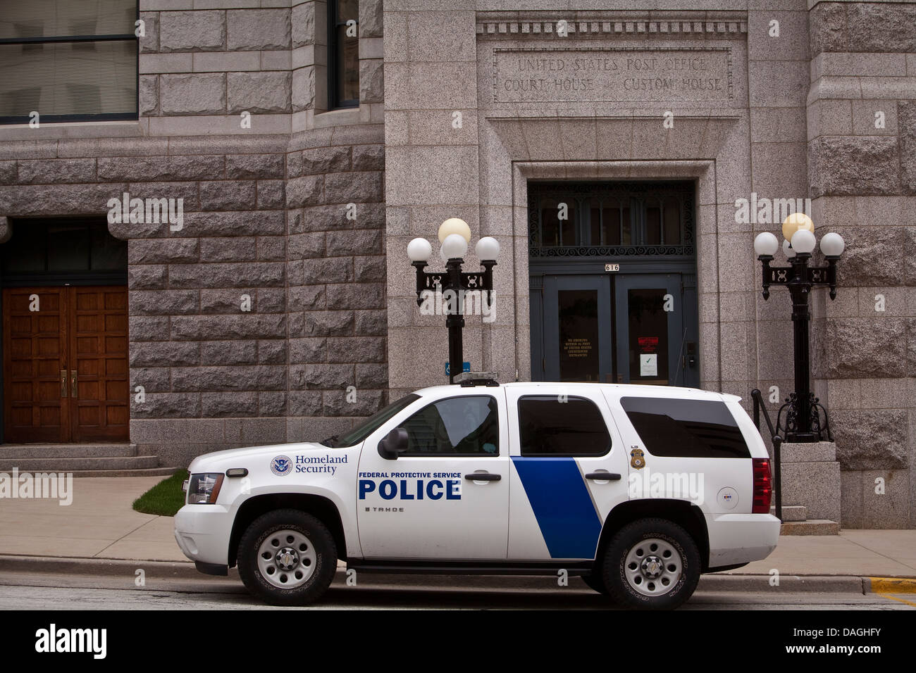 A Homeland Security police car of the Federal Protective Service is seen in Milwaukee - Stock Image