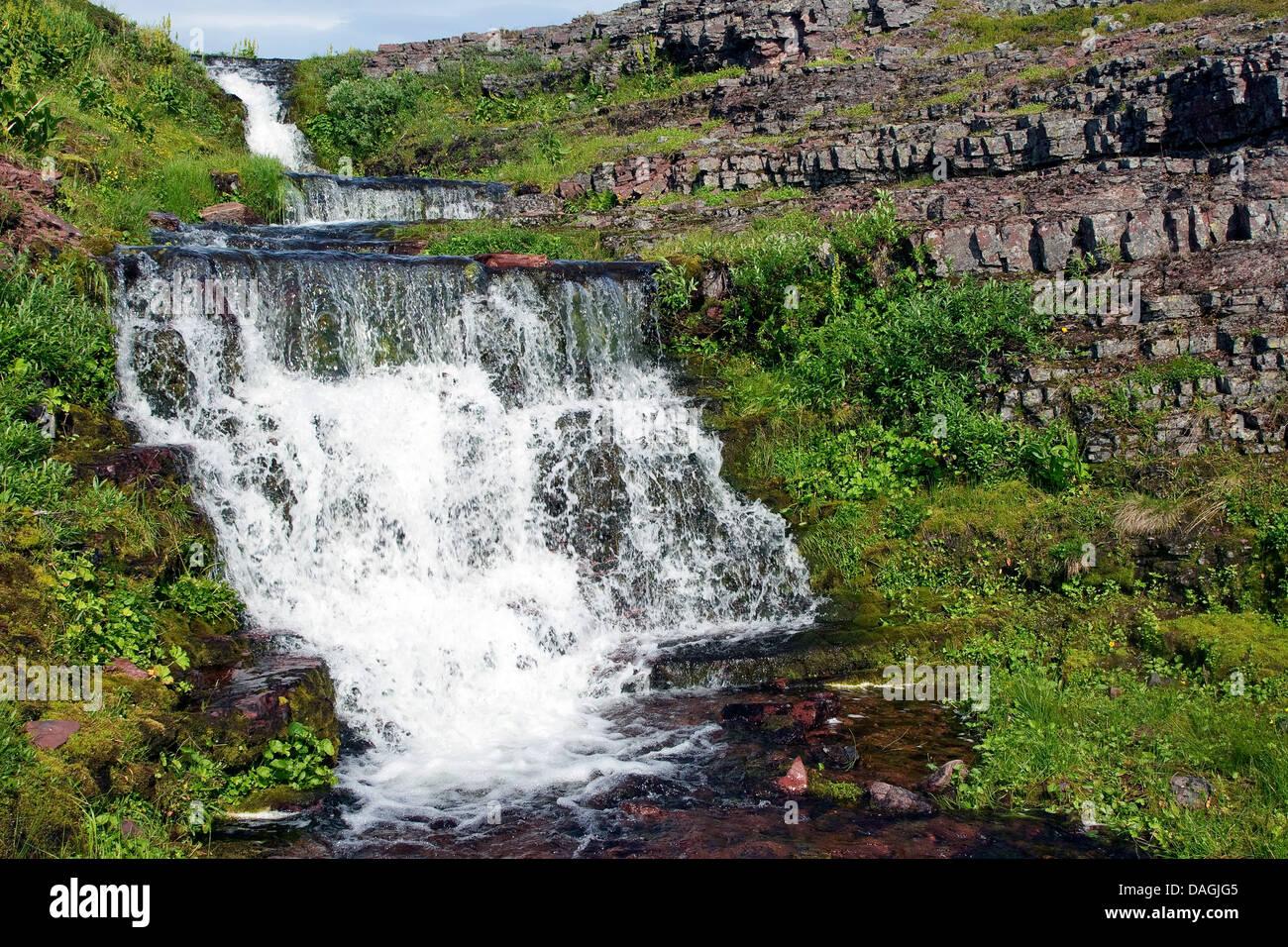running water, Norway, Varanger Peninsula, Lapland - Stock Image