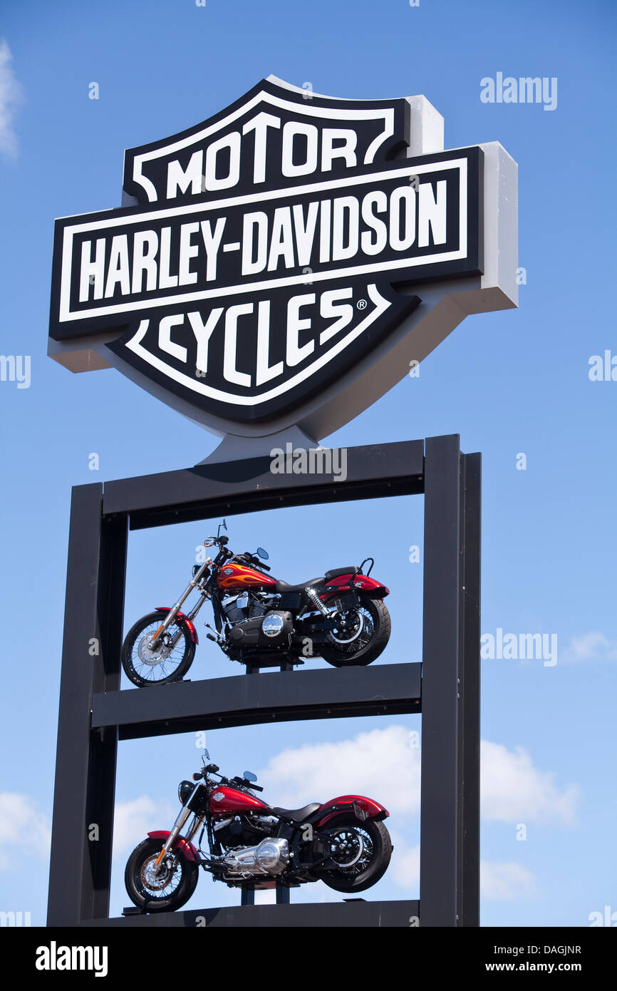 The Harley-Davidson Roadhouse stage is seen on the Henry W. Maier Festival Park (Summerfest Grounds) in Milwaukee - Stock Image
