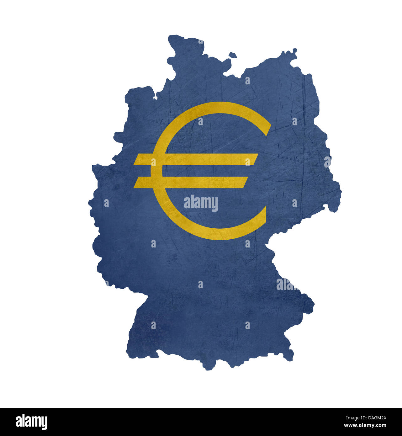 European Currency Symbol On Map Of Germany Isolated On White Stock