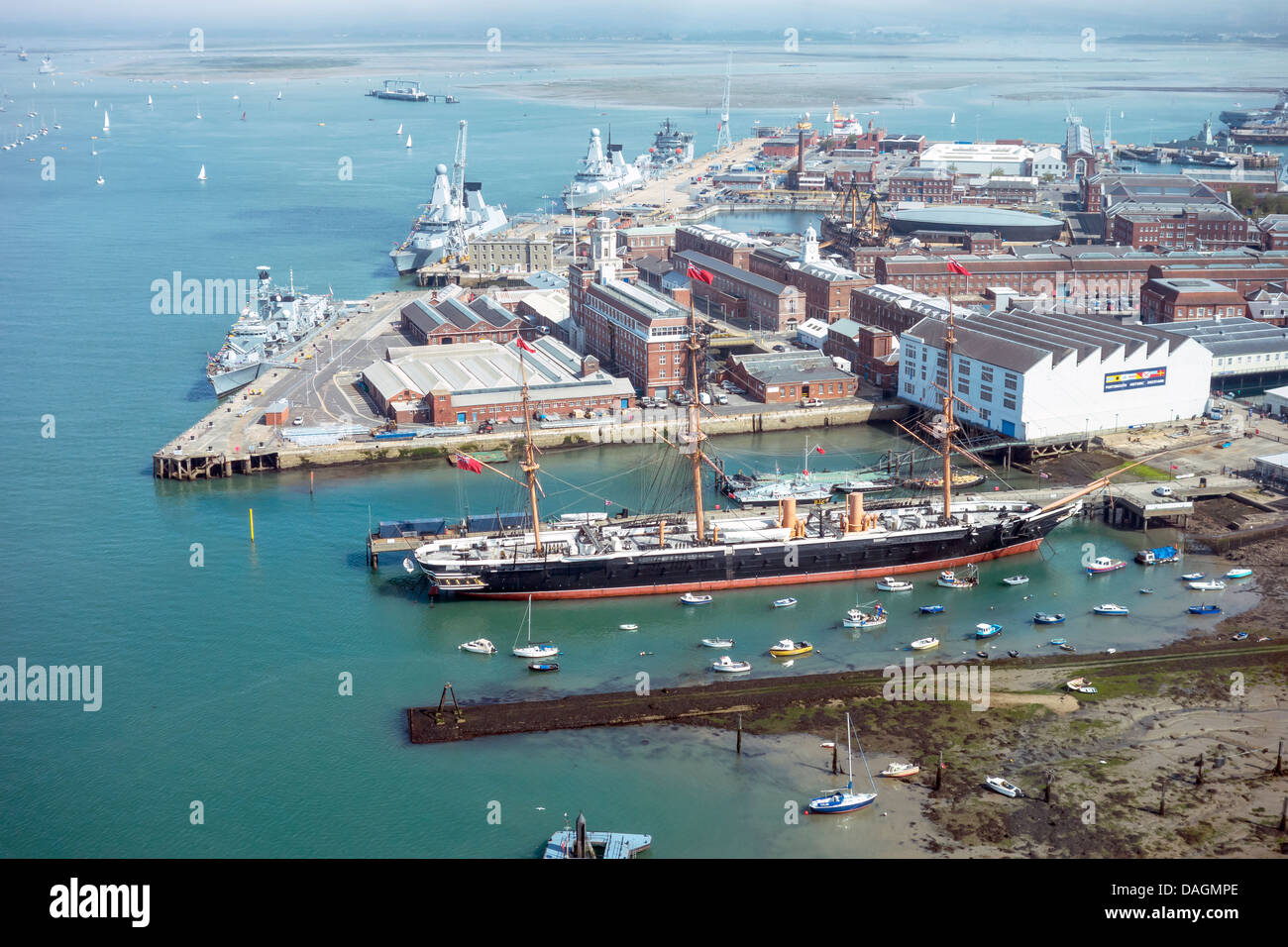 Portsmouth Historic Dockyard from the Spinnaker Tower.  Royal Navy warships Vessels HMS Warrior HMS Victory Mary - Stock Image