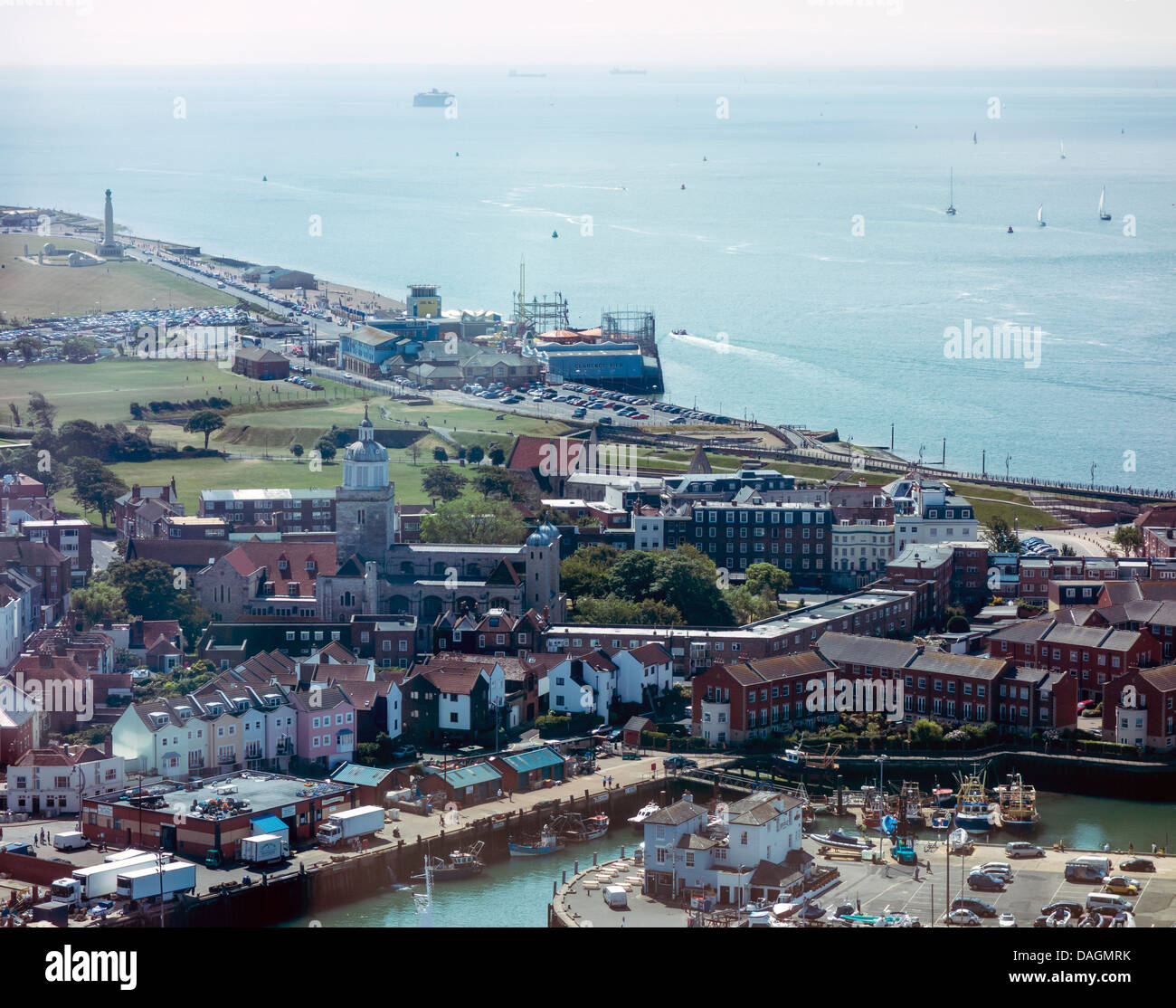 Portsmouth Harbour, Old Portsmouth and Southsea from the top of the Spinnaker Tower - Stock Image