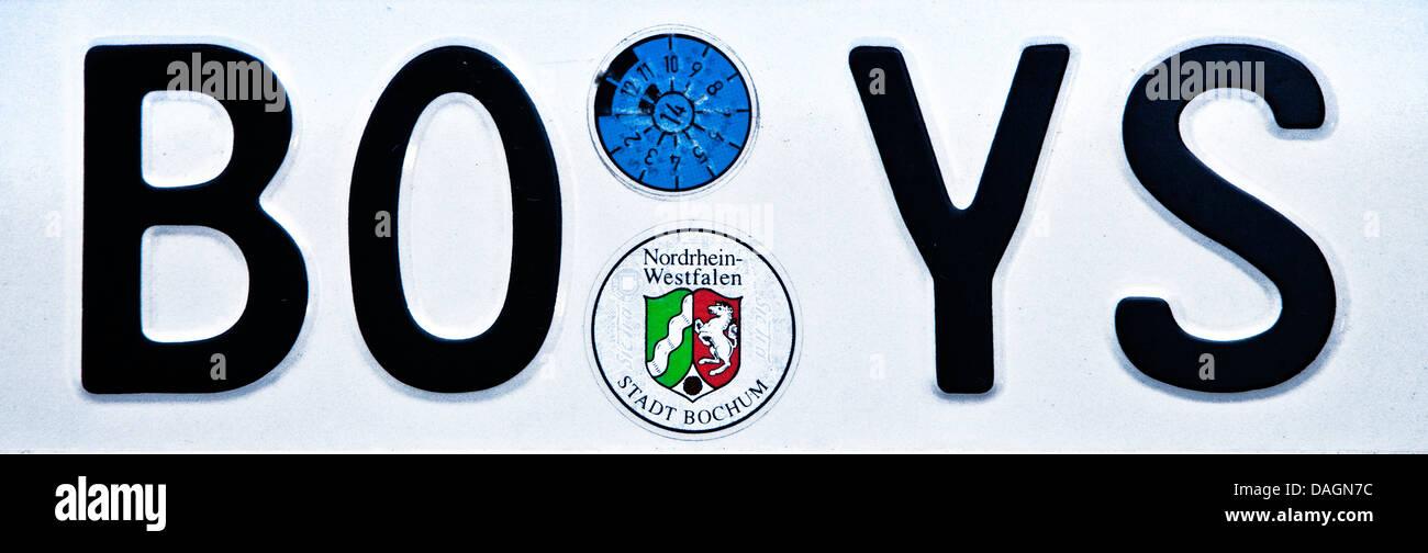 funny car registration plate, BOYS, Germany, North Rhine-Westphalia, Ruhr Area, Bochum - Stock Image