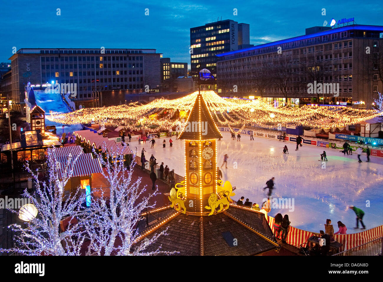 Essen on Ice event at the illuminated Kennedy Square in the city center in the evening, Germany, North Rhine-Westphalia, - Stock Image