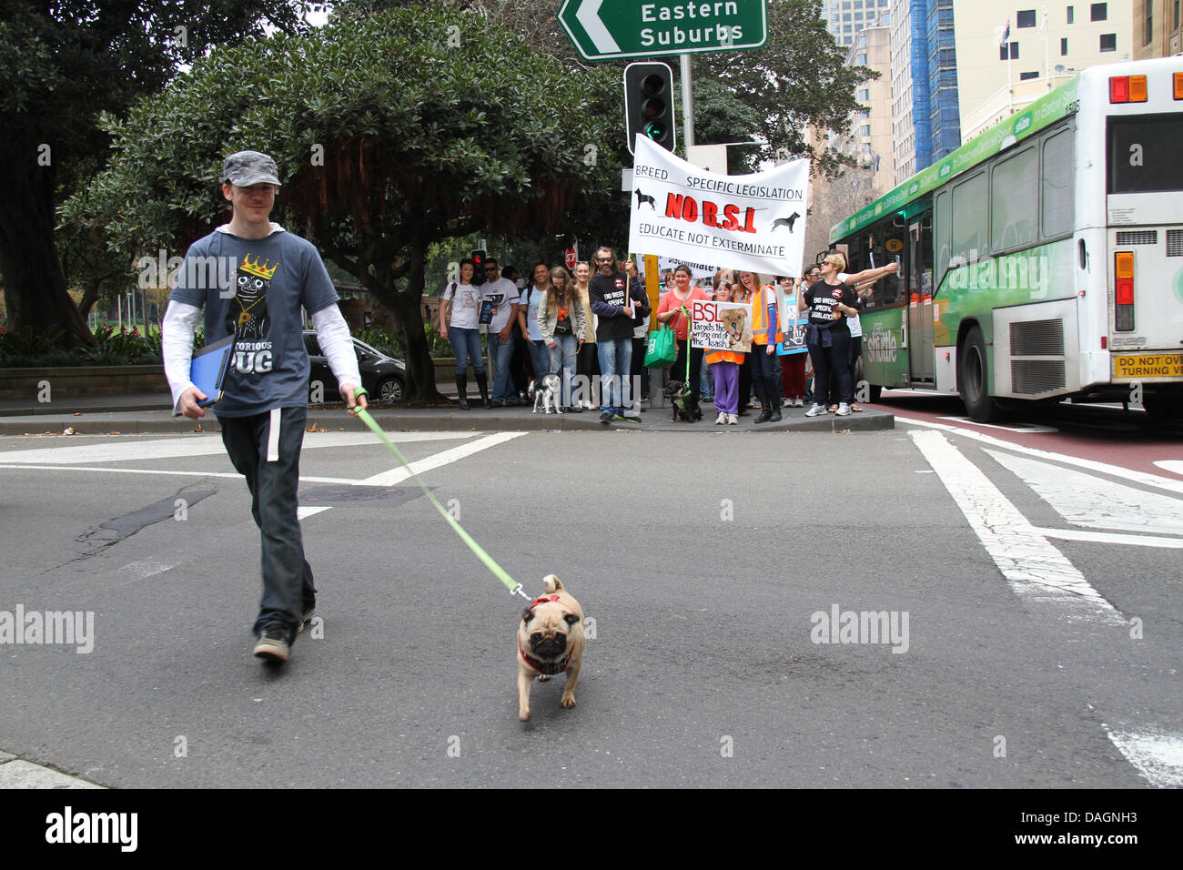 Sydney, NSW, Australia. 13 July 2013. A march and rally organised by the Australian BSL Protestors United group - Stock Image