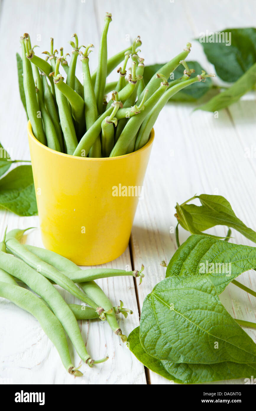 raw asparagus beans in a yellow cup, close up - Stock Image