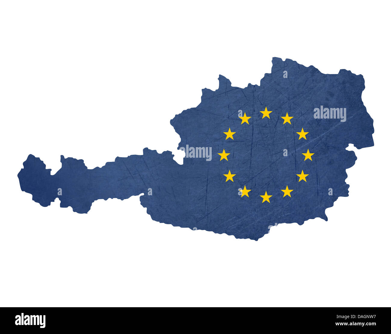 European Flag Map Of Austria Isolated On White Background.