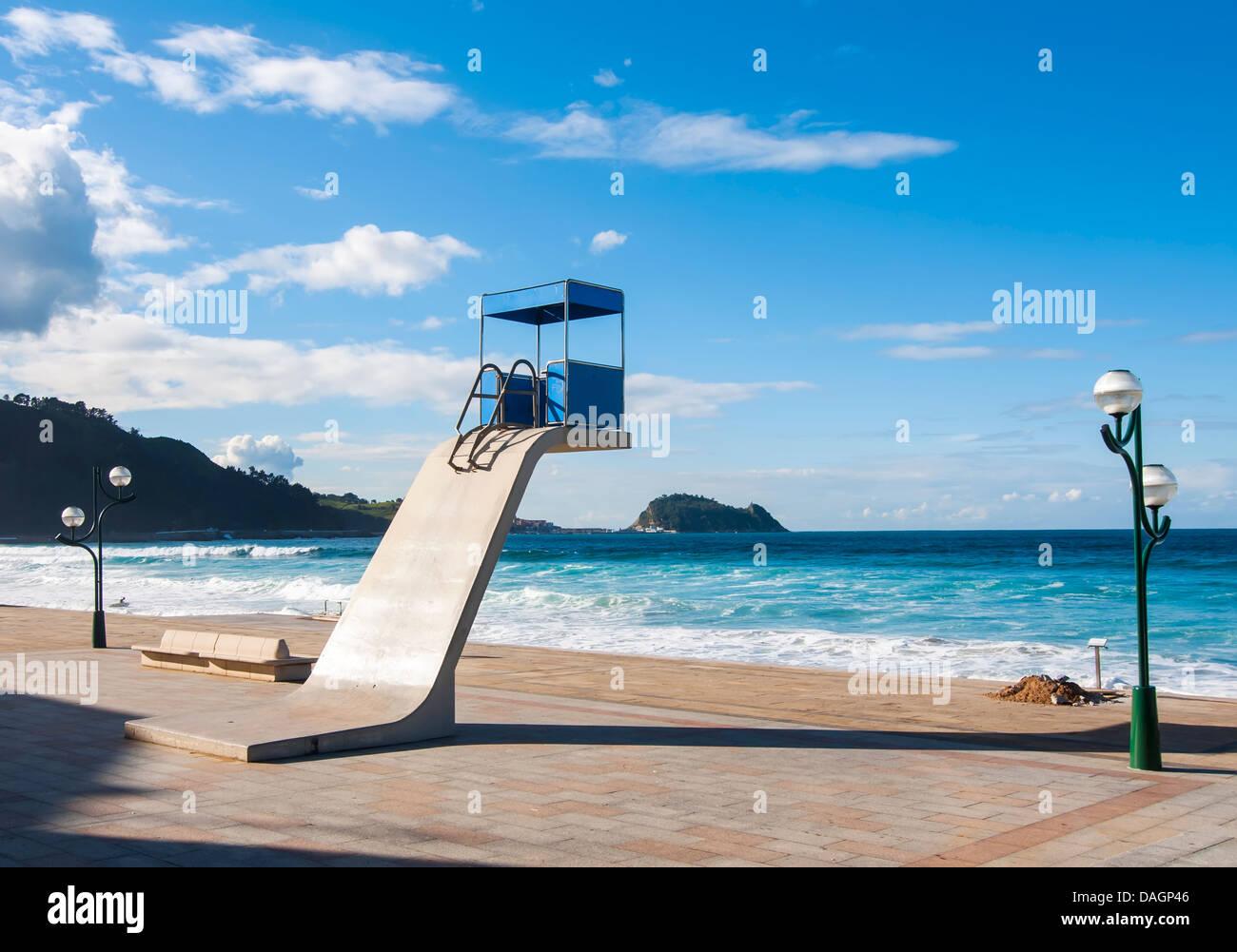 Boardwalk at the beach Zarautz in Vizcaya - Stock Image