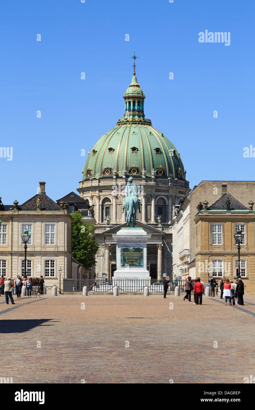 Amalienborg or Royal Palace courtyard with dome of Marble church (Frederik's Church) behind in Copenhagen Zealand - Stock Image