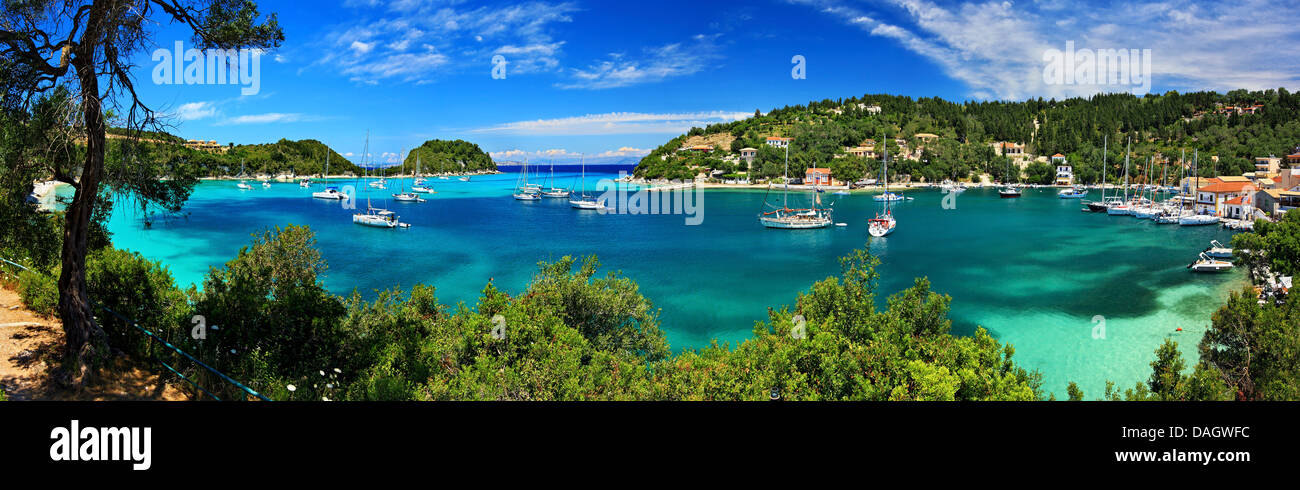 Panoramic view (4 photos 'stiched') of Lakka bay and village, Paxos island, Ionian Sea, Eptanisa ('Seven - Stock Image