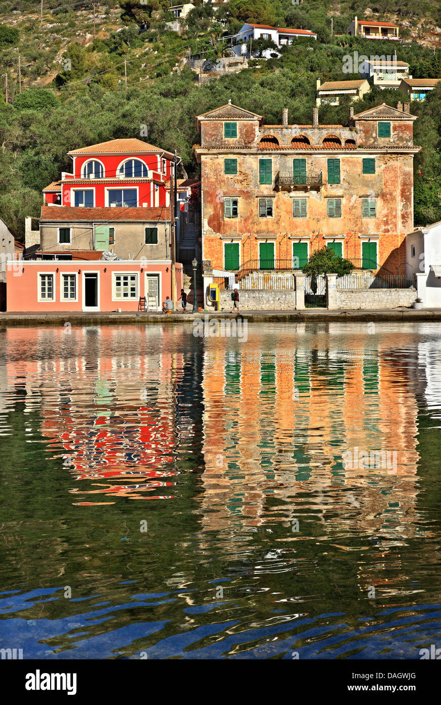 The old British Governor's residence. Gaios is the 'capital' of Paxos ('Paxi') island, Ionian - Stock Image