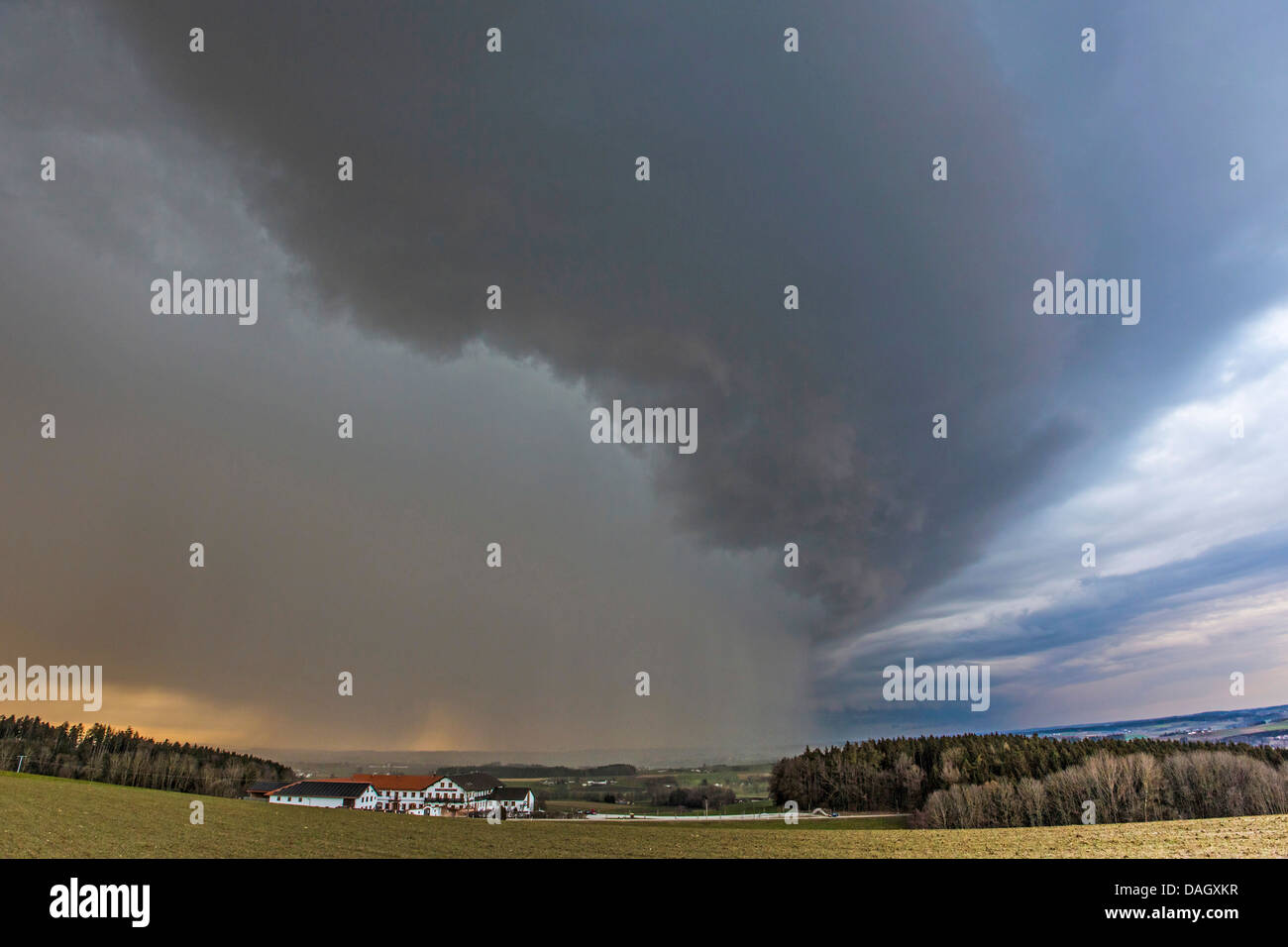 dramatical storm front with heavy rain tracking over river valley, Germany, Bavaria, Isental - Stock Image