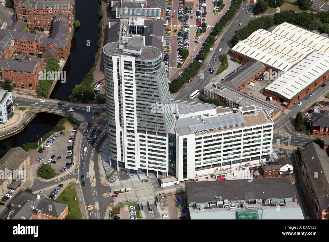 aerial view of Bridgewater Place apartments in Leeds City centre - Stock Image