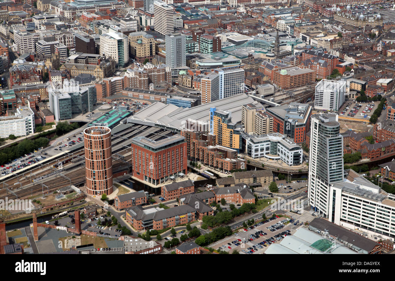 aerial view of Leeds City centre from the south west looking over the River Aire toward Leeds City Station - Stock Image
